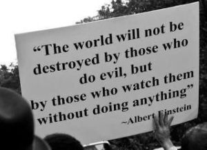 Albert Einstein - The world will not be destroyed by those who do evil but by those who watch them without doing anything